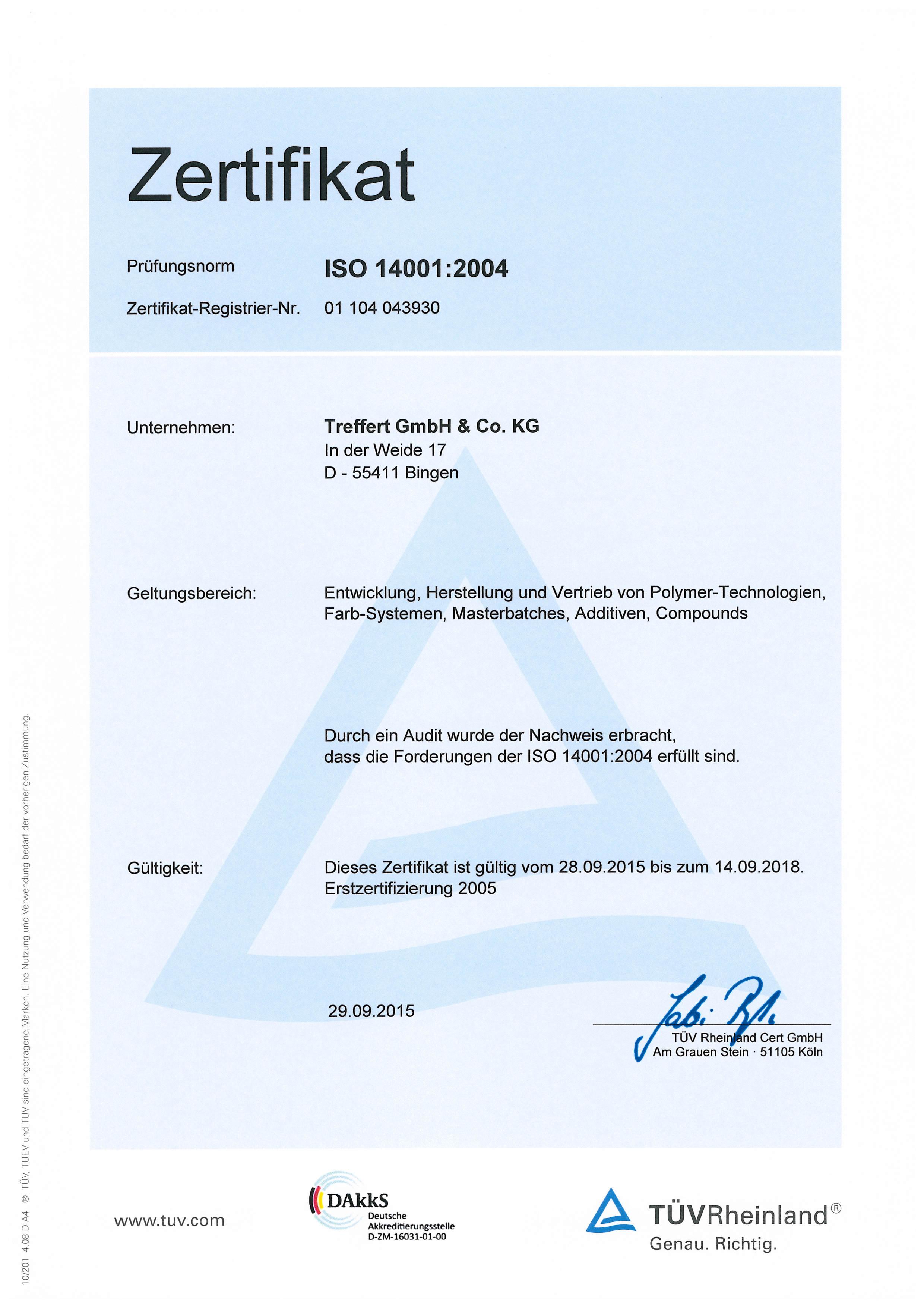 Treffert Zertifikat DIN EN ISO 14001
