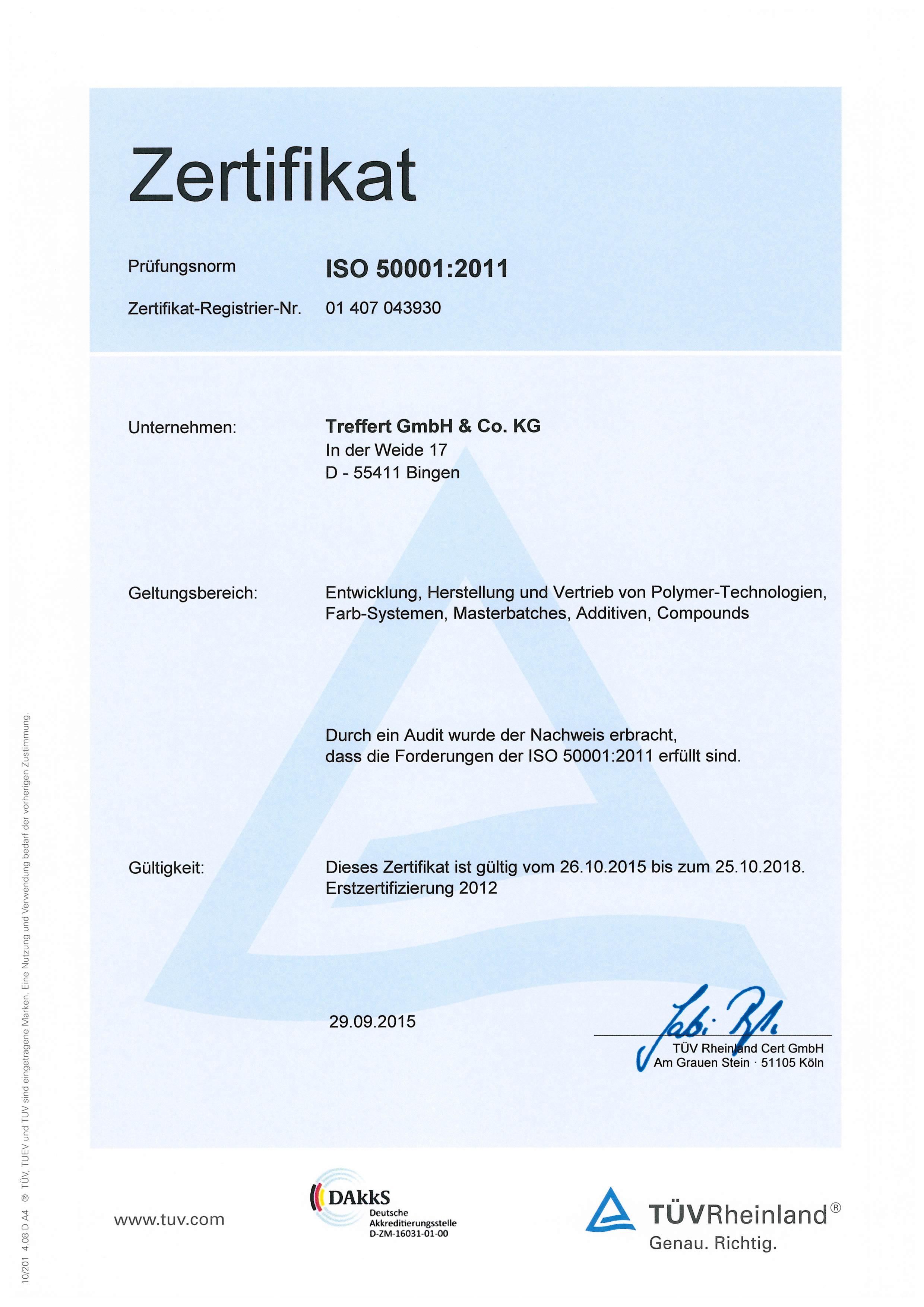 Treffert Zertifikat DIN EN ISO 50001